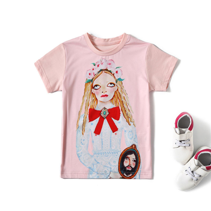 2018 New Summer Girl Kids Tshirt Clothes Painting Series Pattern Rice Color Short Sleeve Shirt Tops Girl Kids Clothing