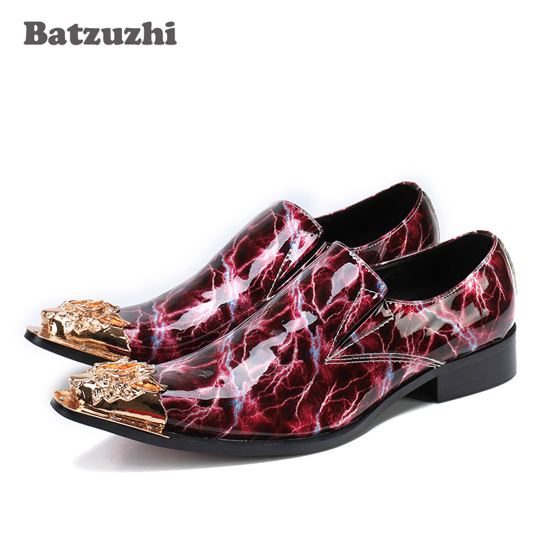 Italian Men Shoes Pointed Gold Metal Tip Genuine Leather Shoes Men Wine Red Lightning Pattern Rock Party and Wedding Shoes Men