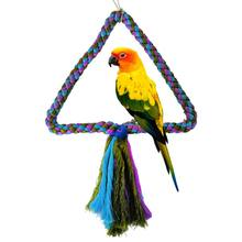 Parrot Bite Sling Toy Triangle Round Cotton Rope Parrots Swing Climbing Ring Birdcage Bird Toys(China)