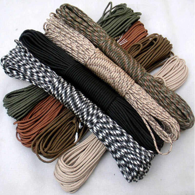108 kleuren 100 M Paracord 550 Paracord Parachute Cord Lanyard Rope Mil Spec Type III 7 Strand Klimmen Camping survival apparatuur
