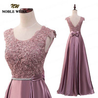 NOBLE WEISS Dust Pink A Line Cheap Prom Dresses Long Floor Length Lace Evening Dress With Bowknot Belt Red Black Robe De Soiree