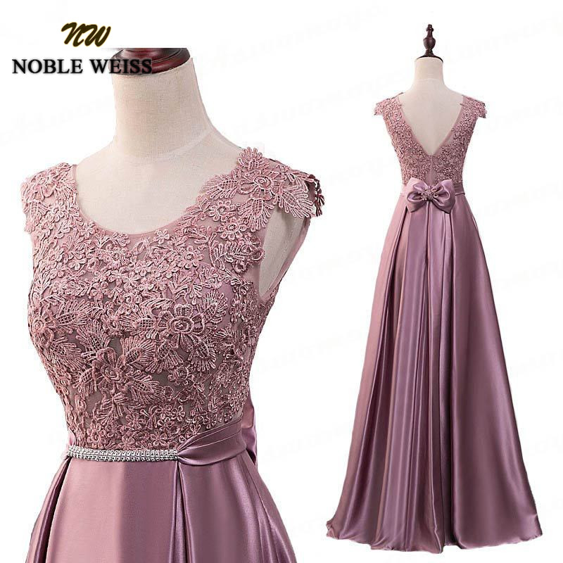 NOBLE WEISS Dust Pink A-Line Cheap Prom   Dresses   Long Floor Length Lace   Evening     Dress   With Bowknot Belt Red Black Robe De Soiree
