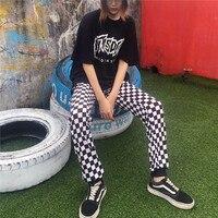 2018 Nova K-Pop Hiphop Ins Hot Estilo Da Velha Escola Xadrez preto E Branco Xadrez Femme Pantalon Calças Soltas Perna Larga mulheres