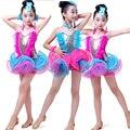Lantejoulas penas Meninas Salão De Baile Dança Latina vestido Crianças tutus de balé profissional Trajes Jazz Moderno roupas de patinação vestido