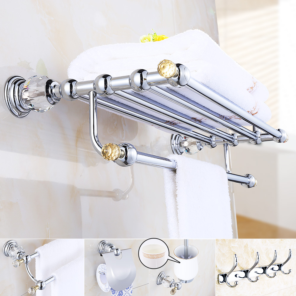 Bathroom Hardware Aliexpress Buy Crystal Chrome Bathroom Accessories Set Brass Bathroom Hardware Set Modern Bathroom Products Silver Bathroom Set Accessories From