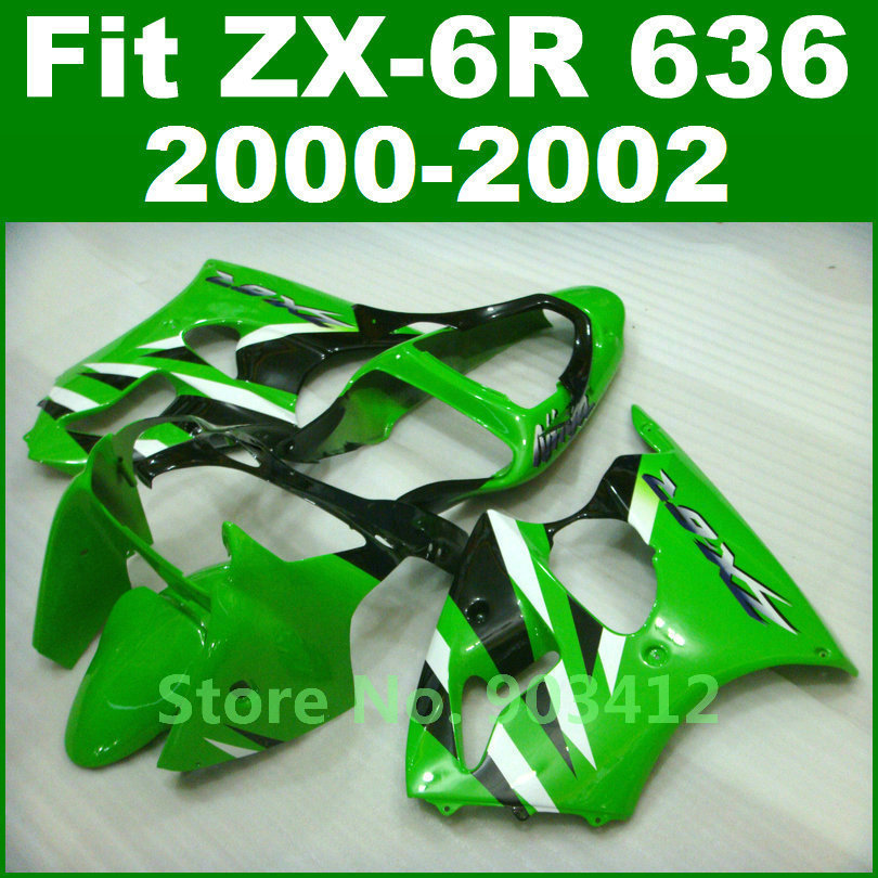 Customize green white bodywork for Kawasaki  fairing kits ZX6R 00 01 02 zx6r Ninja 636 2000 2001 2002 fairing parts aftermarket compression mold bodykit for kawasaki fairing kits zx9r 2000 2001 zx 9r 00 01 ninja customize green purple body parts 7gifts