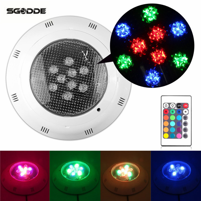 9W RGB Swimming Pool Spa LED IP68 Waterproof Underwater Pool Lights Retro Fit-Remote Control Floating Rainbow Swimming Lamp new brand auto swimming pool cleaner with 70micron filter bag porosity 24dv motor voltage cable15m remote control wall climbing