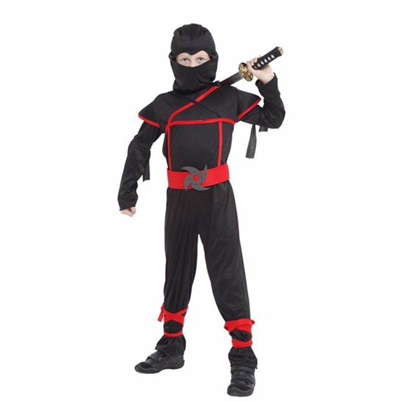 24 Hours Ship Children Boys Kids Black Ninja Warrior Cosplay Costumes Christmas New Year Purim Party Costumes Gift