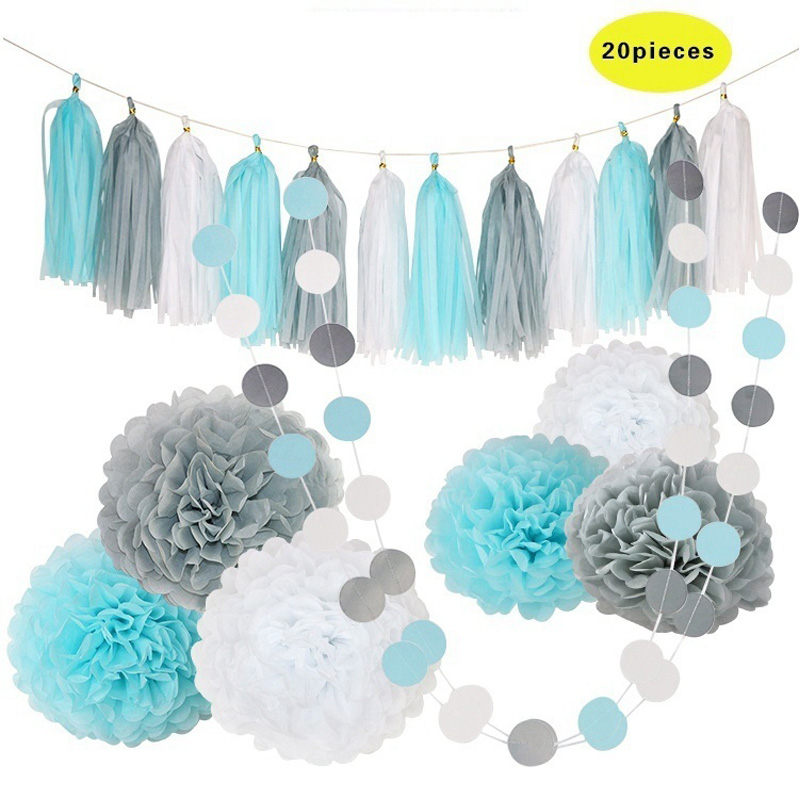 Hot 20pcs Blue White Tissue Paper Pompoms Flower Balls tissue paper tassel Banners Wedding Birthday Party Decoration Set