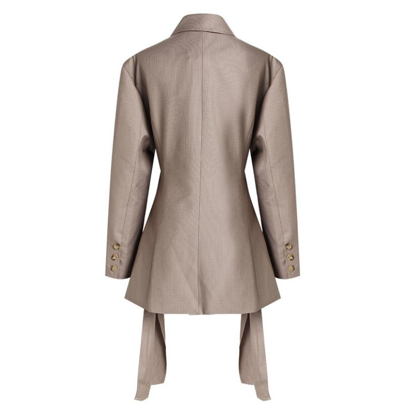 Kaki Vérifier Printemps 2019 Manches Croix Femmes Out Manteau Sexy Creux Taille Blazer Ceintures Boucle Mince Costume Plaid Avec Vintage Veste À Longues Fvvqw1dZr