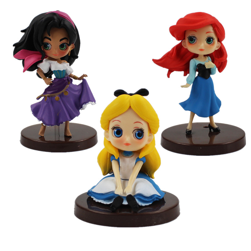 3pcs/lot 9cm Esmeralda Alice Ariel princess figure model toy Hot Sale PVC Figure Model Toy Ariel standing Alice sitting model