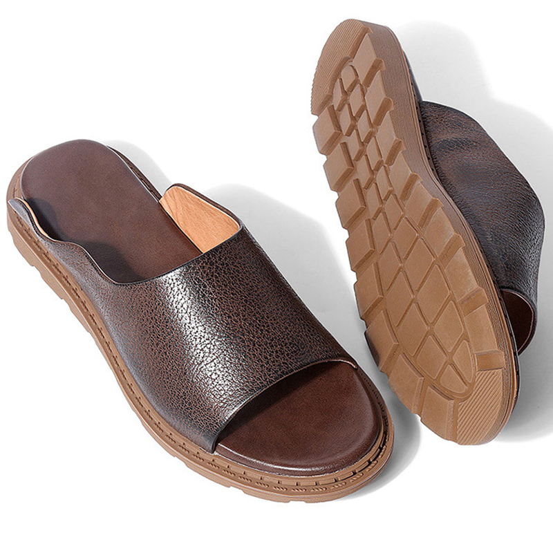 slippers men Summer British real Leather Mens sandals cowhide Breathable Roman Sandal Youth Beach Shoes mens flip flop anti skid in Slippers from Shoes