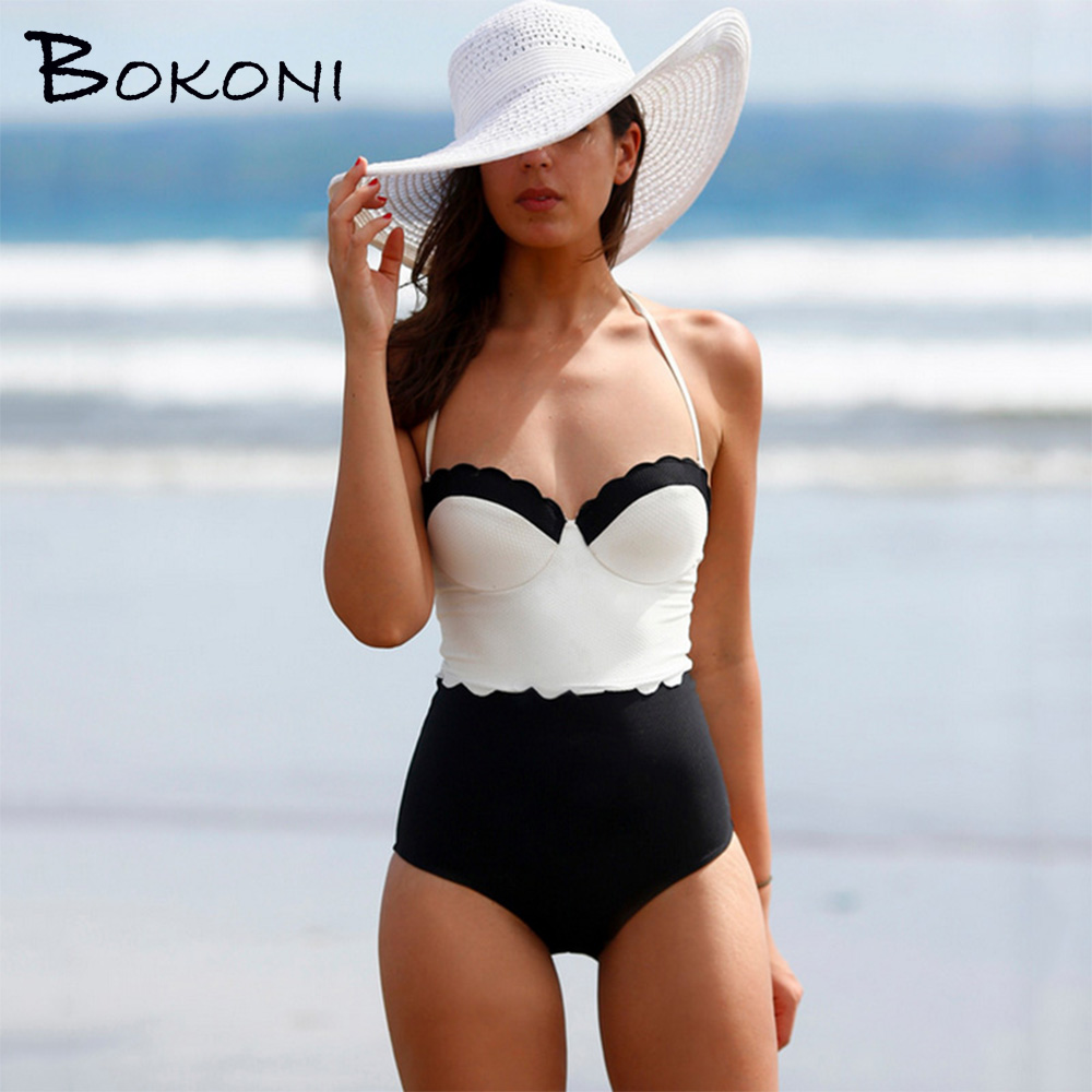 2017 Sexy One Piece Swimsuit Monokini Retro Patchwork Swimwear Bathing Suit Women Halter Surfing maillot de bain female Swimsuit m&m off the shoulder ruffle swimwear women swimsuit maillot de bain monokini thong swim wear one piece swimsuit bathing suit