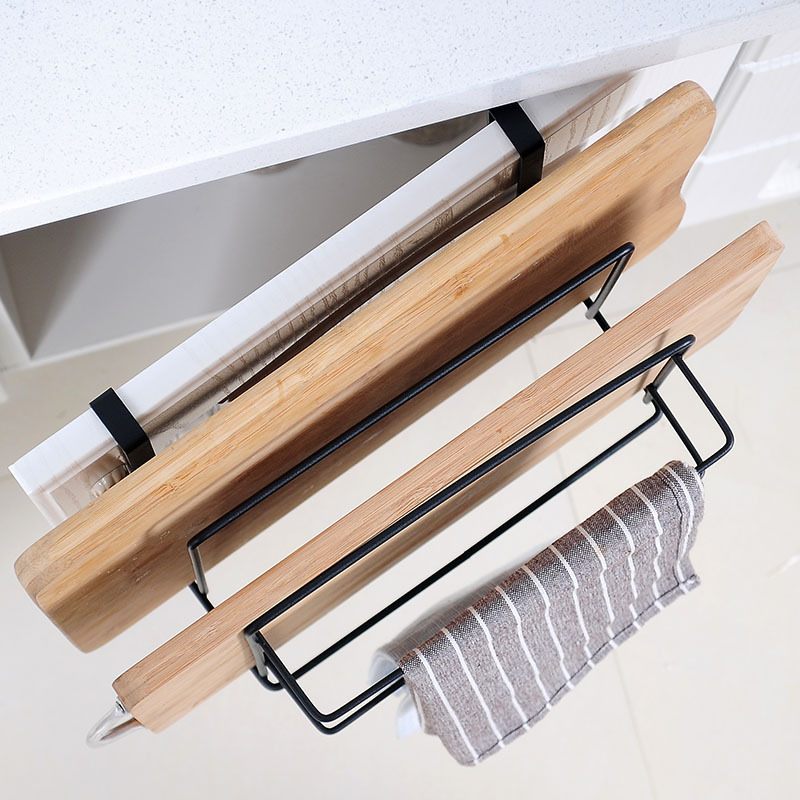 Image 4 - Kitchen Double Layer towel rack hanging holder Cabinets Shelf Chopping Board Storage Rack Hanger Shelf Kitchen Accessories-in Racks & Holders from Home & Garden
