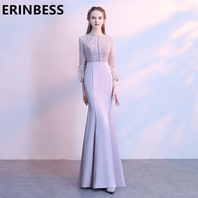 Us 97 79 10 Off Vestido De Festa Scoop New Long Sleeve Prom Dresses Light Purple Mermaid Sweep Train Women Formal Gowns 2018 In Prom Dresses From
