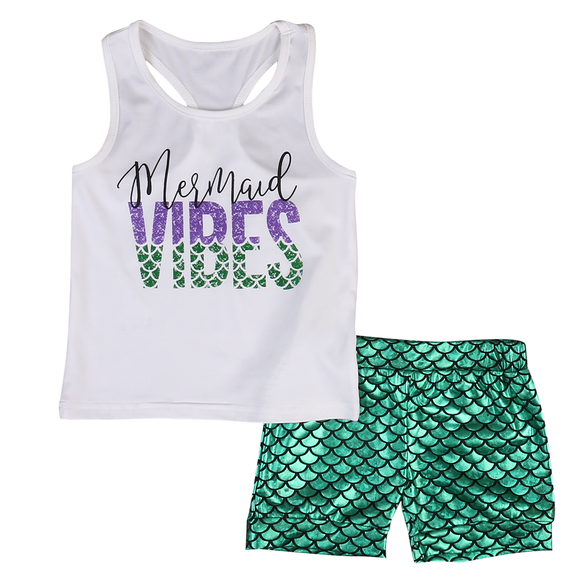 2pcs Newborn Infant Baby Kids Summer Outfits Babies Girls Kids Letter VIBES Vest Tops+print Mermaid short pants Outfit Sets майка print bar good vibes