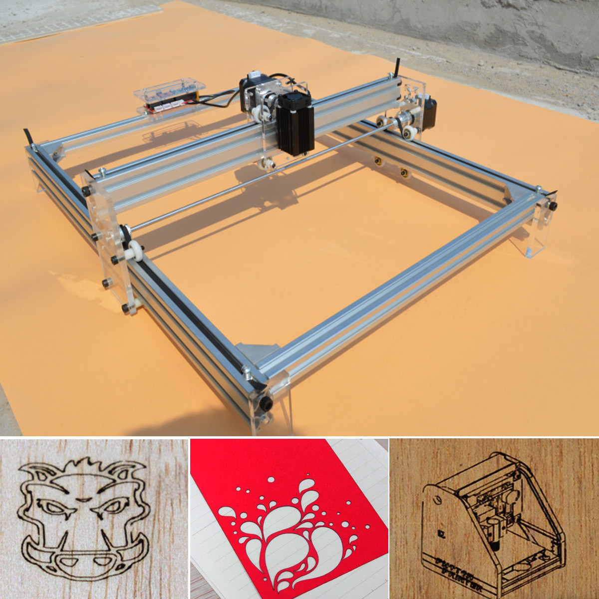 500mW 40X50CM DIY Desktop Mini Blue Laser Engraving Engraver Machine Wood Router/Cutter/Printer/Power Adjustable + Laser Goggles 1000mw diy desktop mini laser engraver engraving machine laser cutter etcher 50x65cm adjustable laser power
