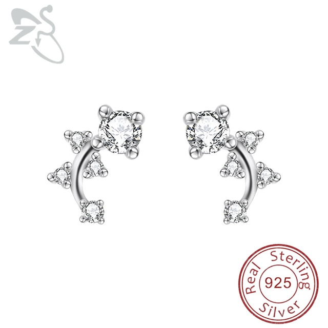 cc170e39f Small 925 Sterling Silver Earrings with Stone CZ Crystal Brincos Minimal Ear  Climber Studs Earring Ladies Girls Pendientes Plata