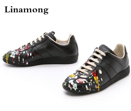 High Quality Men Fashion Black White leather paint splatter Low Top Casual Shoes Unisex Luxury Brand Spring Autumn Flat Shoes цена 2017