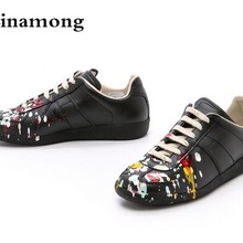 High Quality Men Fashion Black White leather paint splatter Low Top Casual