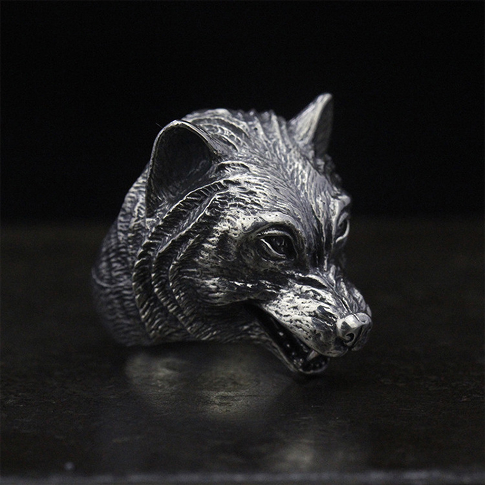 MetJakt Punk Cool Men's Ring & Ferocious Wolf Head Ring Solid S925 Sterling Silver Ring for Men Unique Thai Silver Jewelry unique wolf head style zinc alloy car decorative sticker silver