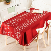 Christmas Table Cloth New Year Cotton and Linen Tablecloth Home Decoration