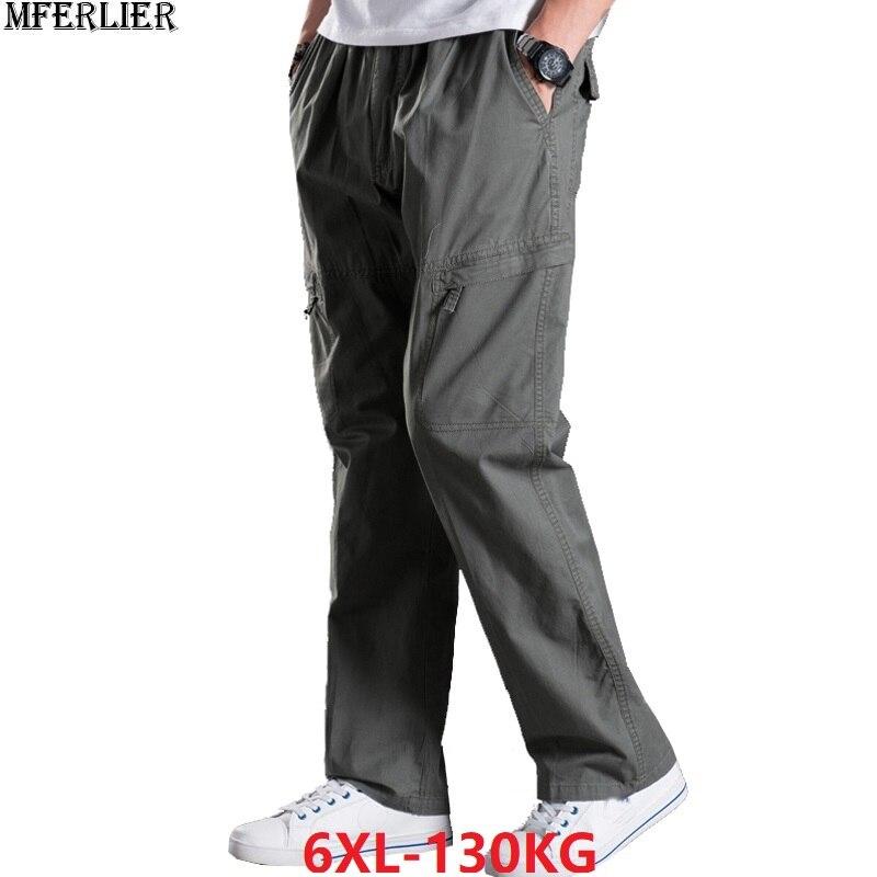 Men Cargo Pants Military Stretch Straight Safari Out Door Pants Pocket Large Size Big 4XL 5XL 6XL Autumn Trousers Loose Pants 46