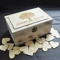 Personalizado livro De convidados Do Casamento, rústico casamento livro de visitas, personalizado Retângulo De Madeira caixa de Lembrança, caixa de casamento com 100 corações