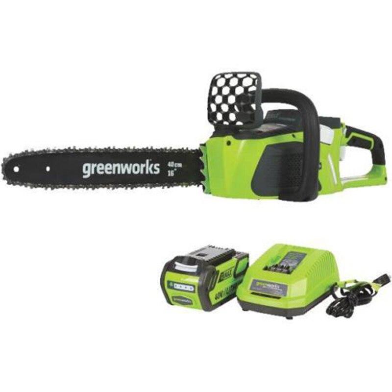Greenworks 40v 4.0ah serra de corrente sem fio motor sem escova 20312 motosserra com 4.0ah bateria e carregador