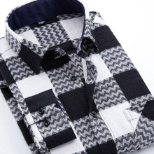 England Style Men Fashion Winter Cotton Warm Flannel Shirts,Camisa Casual Slim Fit Grind Square Collar Long Sleeve Shirts Cloth