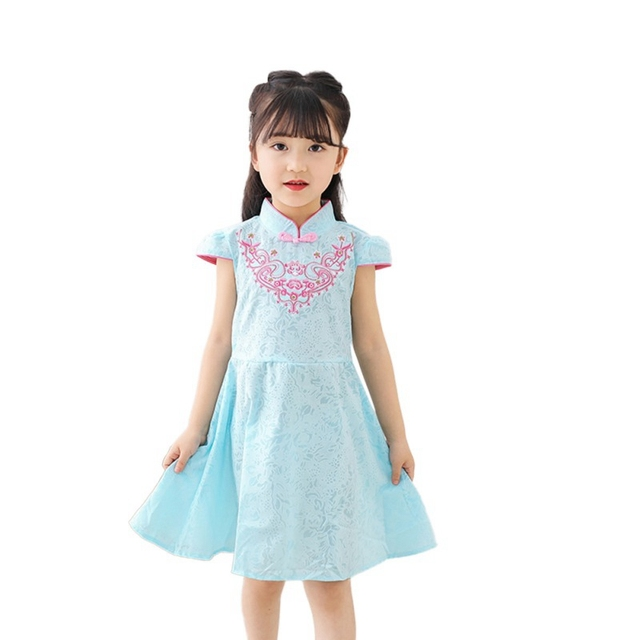 9581309a447 Baby Girl Dress Cute Embroidery Print Dress Chinese Style Traditional Dress  Vintage Cheongsam Dresses Qipao Baby Clothes