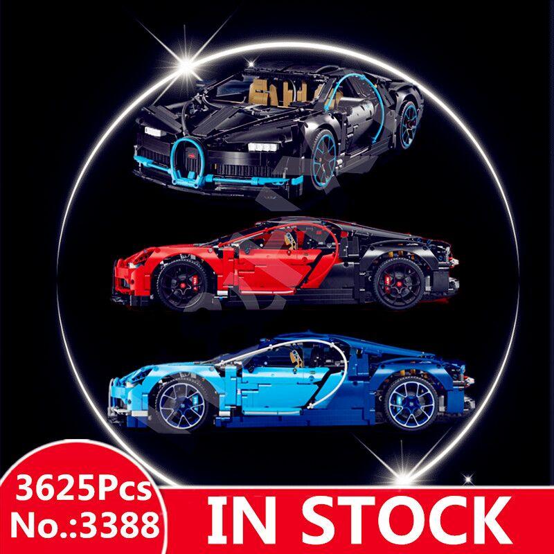 H HXY Chiron Car bugattied 3625Pcs 3388 Racing DECOOL Model Building Blocks Bricks Toy legoingsew Technic