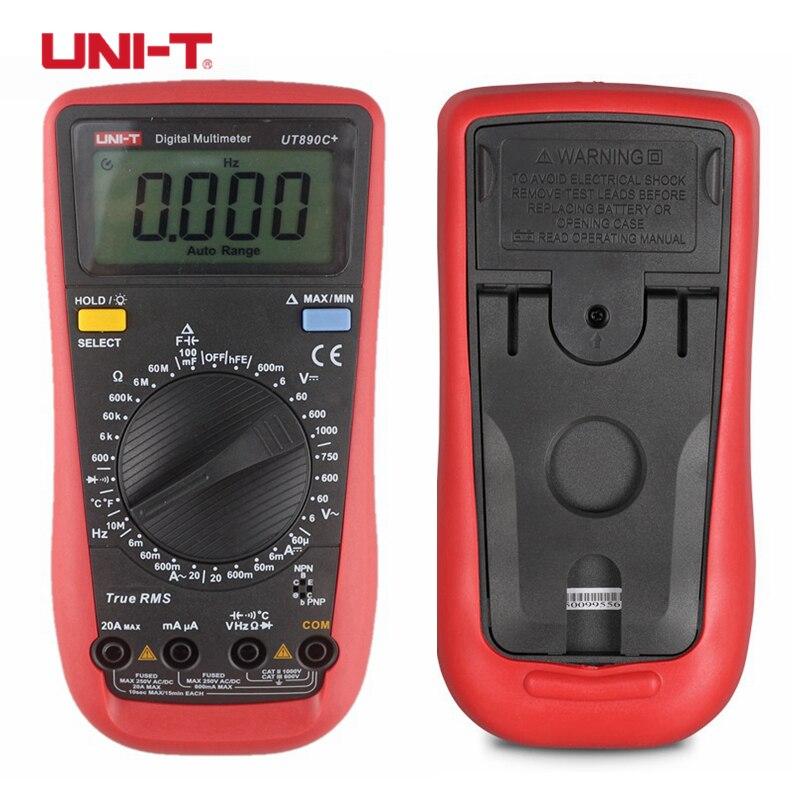 UNI-T UT890C + True RMS Цифровой мультиметр C/F Температура Емкость Частота мультиметра тестер диодов измерительные приборы