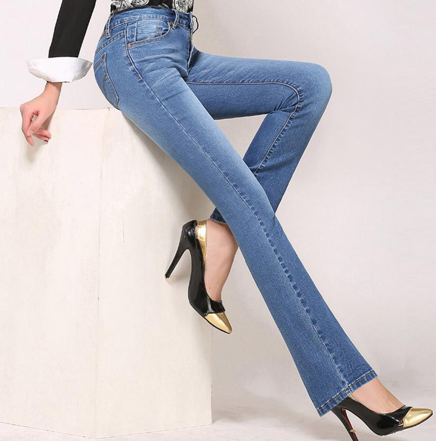 High Waist Flare Jeans Pants Plus Size Stretch Skinny Jeans Women ...