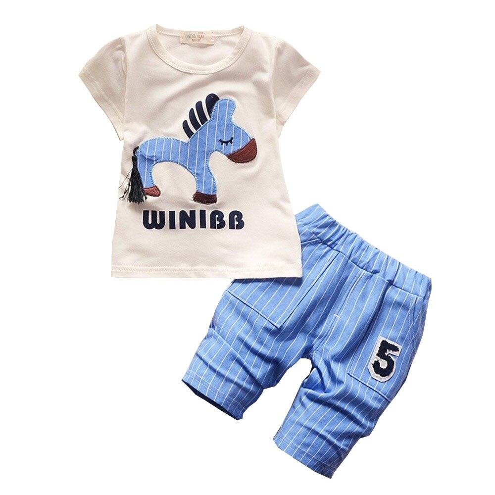 BibiCola Summer Baby Boys Girls Clothes suit Leisure Clothing Set Children Cartoon Horse T-shirt Stripe Shorts Suit