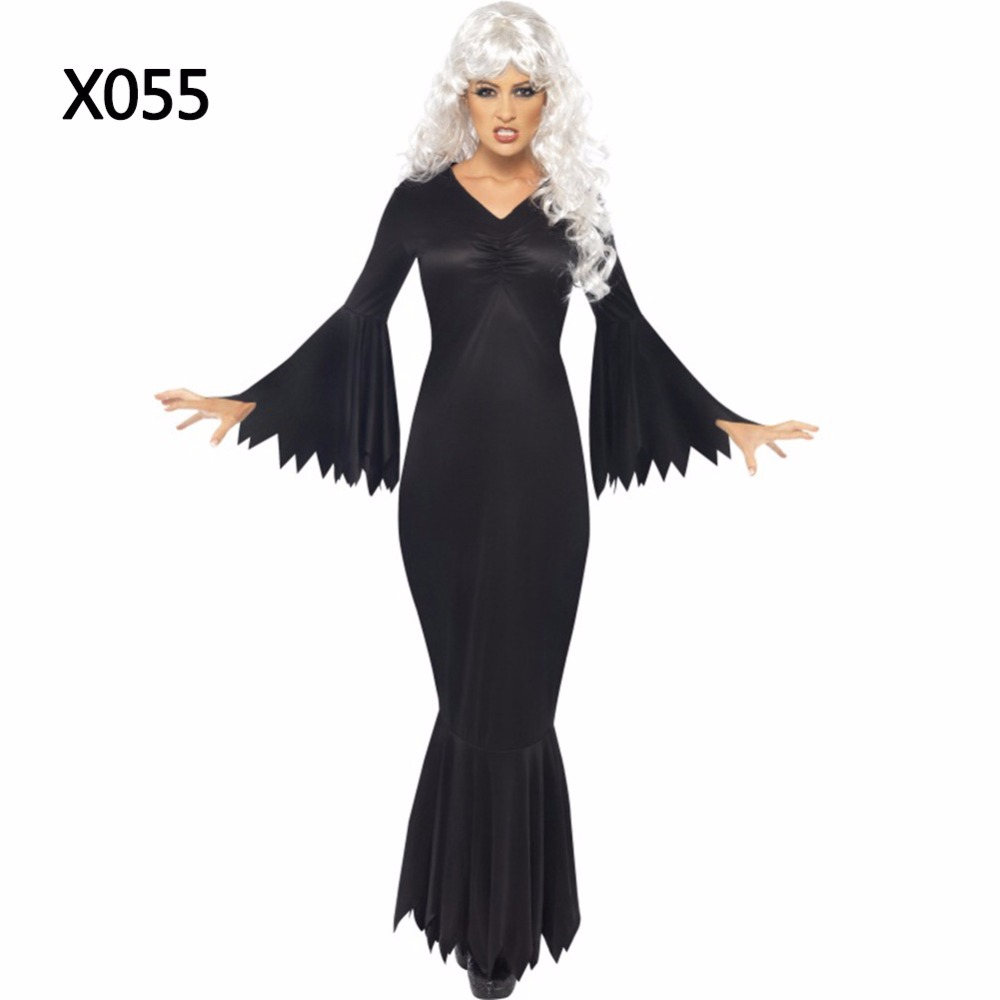 Sensfun 2018 Sexy v neck Black Woman Halloween Dress Costumes Sleeveless Long Sleeves Mermaid Bodysuit Halloween Party Dress