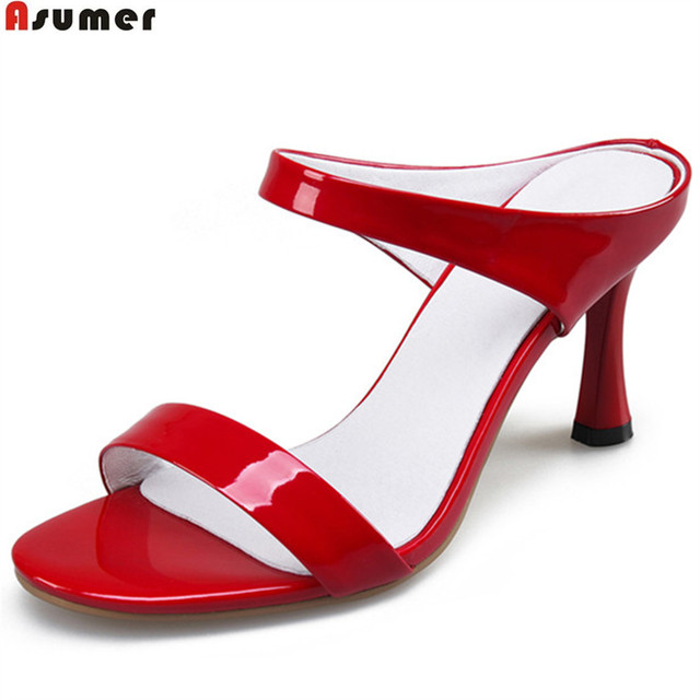 Red Leather Casual High-Heeled Shoes discount perfect P4VvA