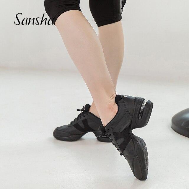 Sansha    Genuine Pig Leather Dance Sneakers Black Comfortable Salsa Jazz Air Cushion  Dance Shoes  H166LPI