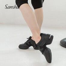 Sansha hakiki domuz deri dans Sneakers siyah rahat Salsa caz hava yastığı dans ayakkabıları H166LPI