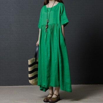 ee9c0498744 2019 Весна Лето с коротким рукавом длинное платье из хлопка и льна  Винтажное с круглым вырезом платье однотонный большой размер M-7XL Черный  Тон..