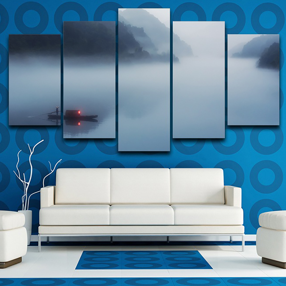 Decoration HD Printed Poster Framework Living Room 5 Panel Fog River Mountain Landscape Modern Wall Art Pictures Home Painting