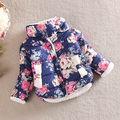 Children Infant Baby Girl Floral Stand Collar Winter Long Sleeve Bow Coat Outerwear 2-6Y