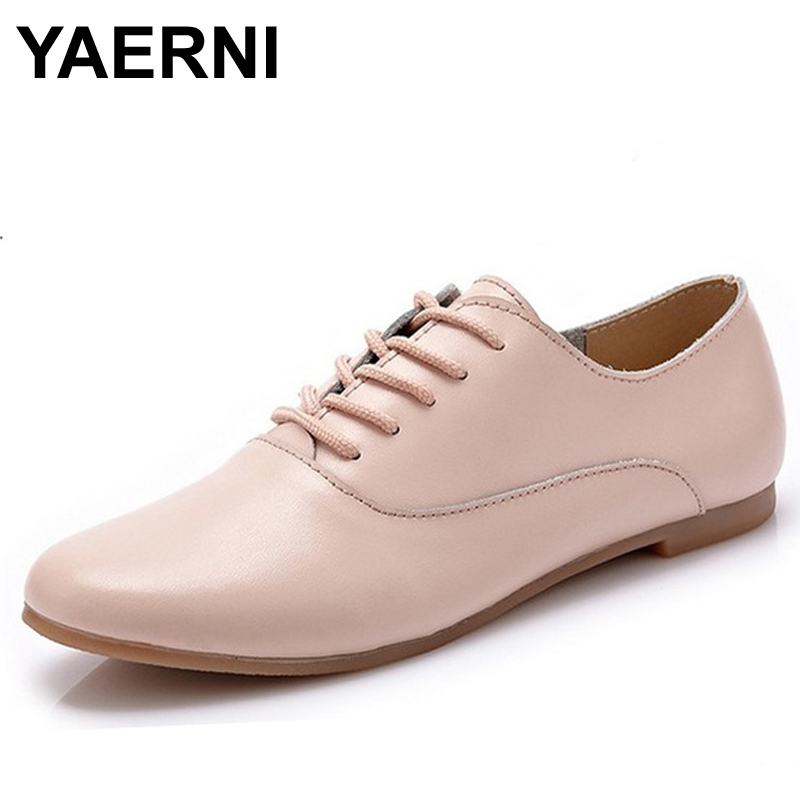 YAERNI Spring women oxford shoes ballerina flats shoes women genuine leather shoes moccasins lace up loafers white shoes 051 genuine leather baby shoes lace up toddler baby moccasins mixed colors boys shoes first walkers free shipping