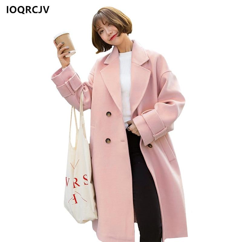 Boutonnage Grande Laine Manches Survêtement pink Blue Veste Décontractée Manteau Double Cocon De Ioqrcjv Hiver Longues Long Revers Femmes Gray 2018 À F22 xFnvgqtAW