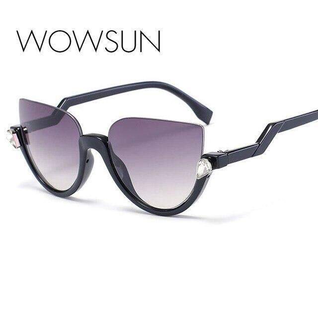 2069878775ee56 New vrouwen merk designer semi-randloze diamond crystal cat eye zonnebril  vrouwen vintage zonnebril spiegel