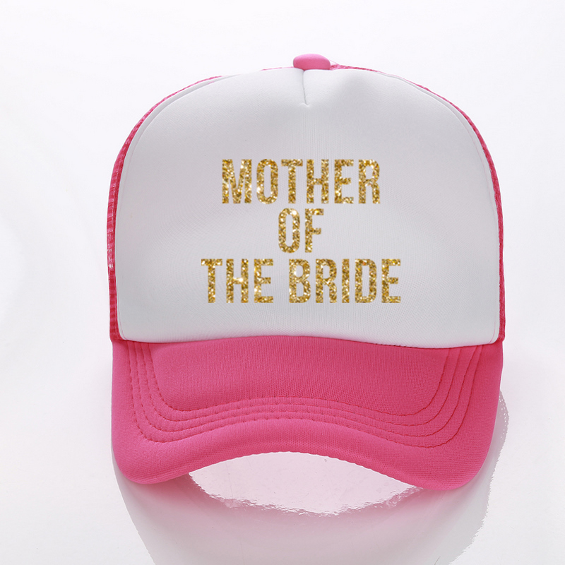 Mother Or Sister Of The Bride Golden Glitter Print Trucker Caps Bachelorette  Women High Quality Snapback Hats Free Shipping