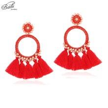 Badu Long Tassel Earrings for Women Vintage Handmade Dangle Earring 2018 New Crystal Beads Baroque Jewelry