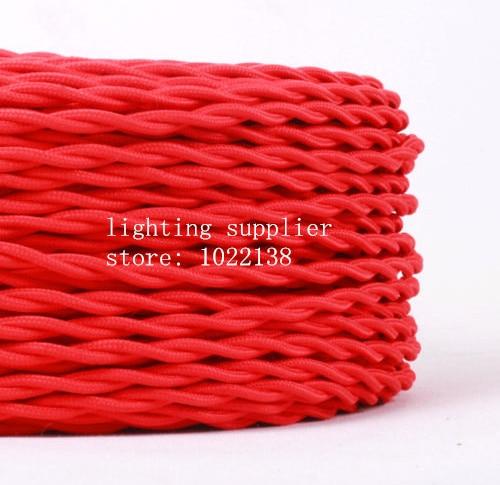 3 noyaux différentes couleurs tressé textile tissu câble 3*0.75mm tissu enduit silicone câble bricolage vintage pendentif lampe tissu fil - 2