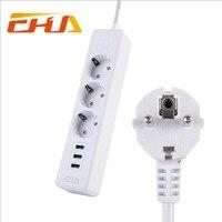 Vendita calda 3 EU Plug Prese con 3 Porte USB Ricarica rapida Ciabatta Presa 250 V 10A Prese di Estensione interruttore
