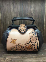 chinese vintage flower butterfly hand carve lady bags genuine leather woman handbags